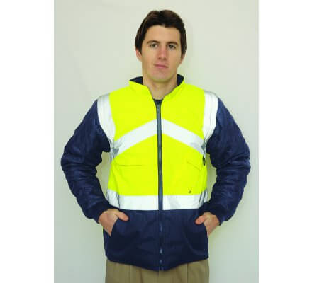 GILET A MANCHES JAUNE/MARINE S769